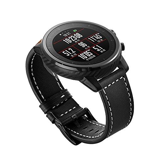 Aimtel compatible con Amazfit Stratos 2 Banda, 22 mm, correa de piel deportiva ajustable, compatible con Amazfit Stratos 2 Watch, color Negro