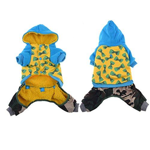 Sourcingmap Strik Print Huisdier Kat Hond Hoodie Jumpsuit Jas Kleding, 2X-Small, Geel/Blauw