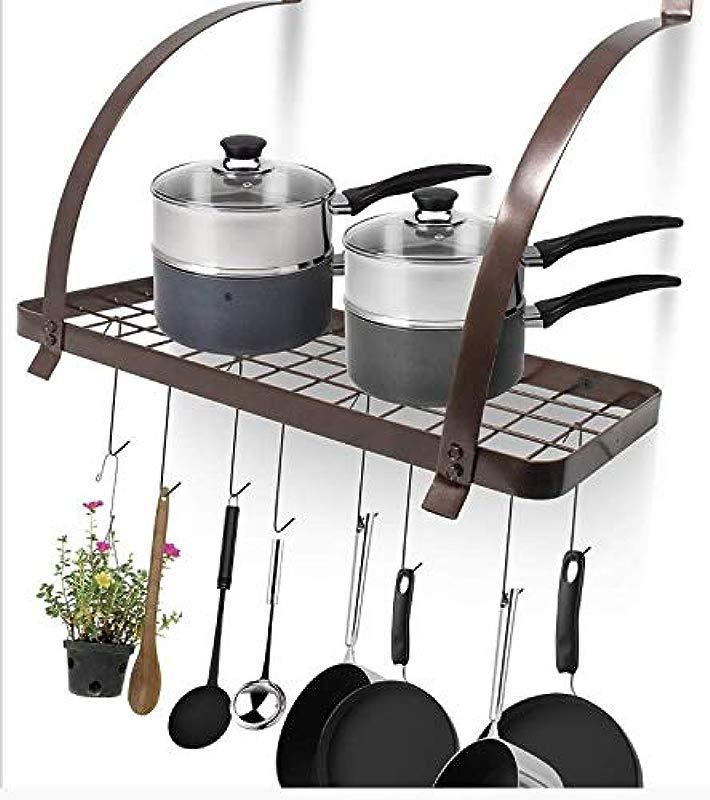 Wishom Wishom Kitchen Wall Pot Pan Rack With 8 Hooks Black