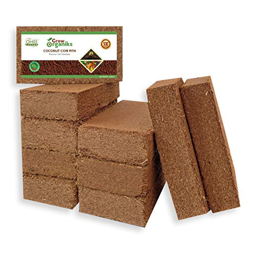 Grow Organiks Coco Coir Pith, Coco Peat Brick (Coconut Coir)-300g,OMRI Listed for Organic Use, Expansion Between 5-6L,Universal Potting Substrate for All Plants & Crops - Pack of 10