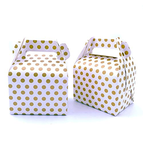 JZK 25 x Lunares de Oro Cajas de Fiesta cajitas de Regalo contenedor Magdalenas o Muffins bocadillos Dulces para cumpleaños de niños