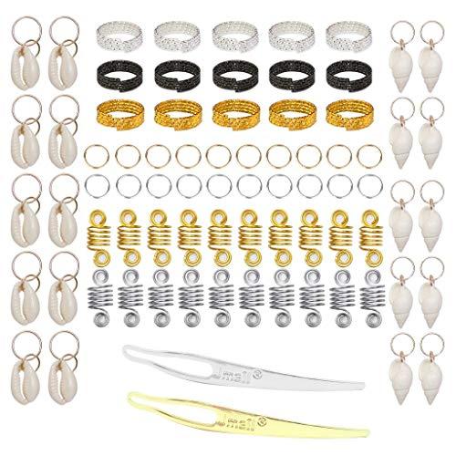 Colcolo 77pcs Anillos de Trenza de Pelo de Metal Flexible Set Clips de Lazo de Pelo de Rastas de Bricolaje Unisex