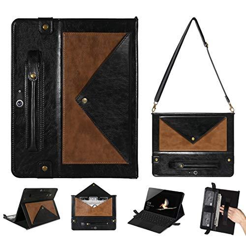 QGT Tablet Case for Microsoft Surface Go 10.1 inch Envelope Color Matching Horizontal Flip PU Leather Case with Card Slots & Pen Slots & Holder & Wallet & Photo Frame & Shoulder Strap