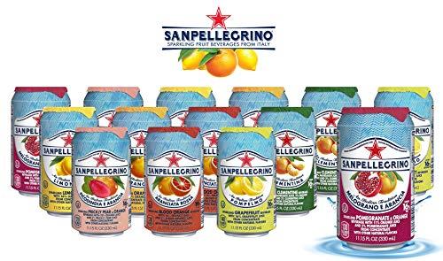 San Pellegrino Sparkling Fruit Beverages - All Flavor Variety Pack (Sampler), 11.15 Fl Oz Cans, Naturally Flavored Sparkling Water   7 Flavors - Pack of 14
