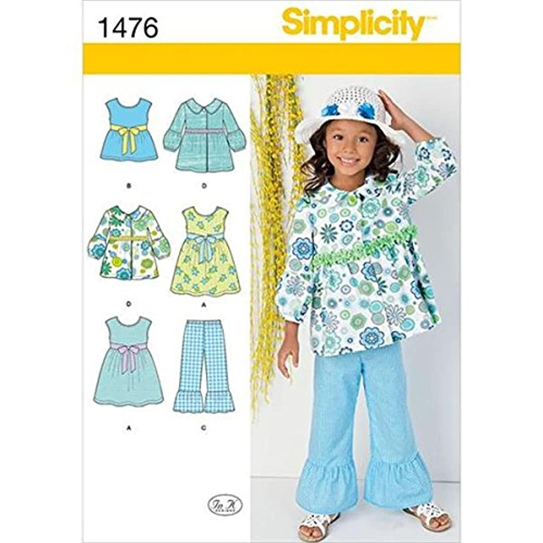 Simplicity Easy-to-Sew Pattern 1476 Girls Dress, Top, Pants and Jacket Sizes 3-4-5-6-7-8