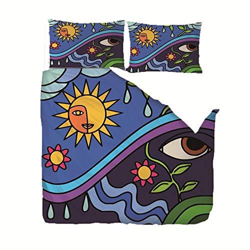RGBVVM Påslakan dubbelsäng 89 x 89 tum svarta ögon sängklädesset med 2 örngott 50 x 75 cm, ultramjuka mikrofiber-täcken sängar med smidig blixtlåsstängning påslakan