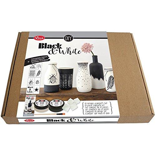 """Viva Decor Set""""Black & White"""" 10tlg Keramik Effekt Klassische Farben Schwarz-Weiß Keramik-Optik"""