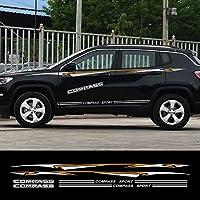 1セット車のドアサイドスカートデカールジープコンパススポーツ魅惑自動全身装飾アクセサリー用ビニール反射ステッカー