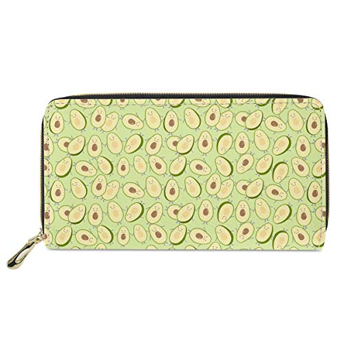 Women Long Wallet Soft Pu Leather Avocado Pattern Clutch Purse Card Holder Large Storage