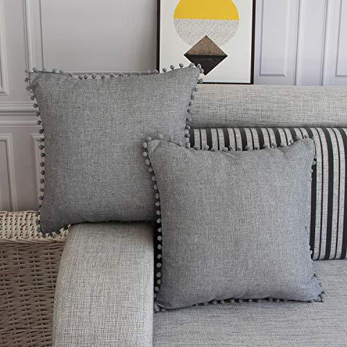 FYJS Confezione da 2 federe in lino artificiale con pom-poms Home Decor Fodera per cuscino quadrato per divano camera da letto 45x45cm,Grigio chiaro