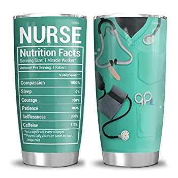 64HYDRO 20oz Nurse Nutrition Facts Nurse Gift Tumbler Cup with Lid Double Wall Vacuum Sporty Thermos Insulated Travel Coffee Mug