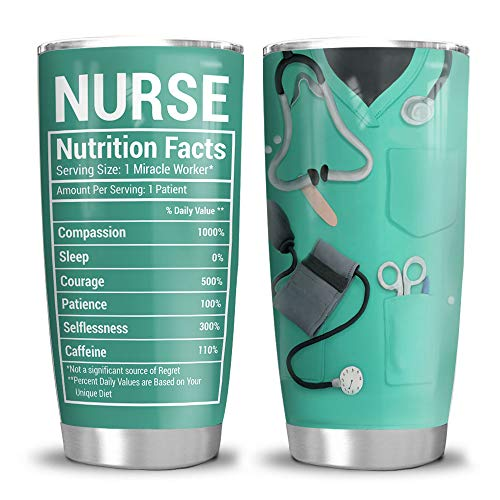 64HYDRO 20oz Nurse Nutrition Facts Nurse Gift Tumbler Cup with Lid, Double Wall Vacuum Sporty Thermos Insulated Travel Coffee Mug