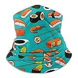 Naizi Extra gruesa absorbente de agua mariscos Sushi langostinos Wasabi japonés 2 Unisex microfibra cuello calentador Headwear máscara para invierno frío máscara para clima Bandana pasamontañas