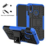 LiuShan Huawei P20 Lite Funda, Heavy Duty Silicona Híbrida Rugged Armor Soporte Cáscara de Cubierta Protectora de Doble Capa Caso para Huawei P20 Lite Smartphone(con 4 en 1 Regalo empaquetado),Azul