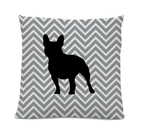 Chevron French Bulldog Pillow - Frenchie Silhouette Pillow - Gray Chevron Pillow - dog home decor - French Bulldog Decor - Dog Pillow