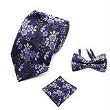 CYCDSD Mode Hochzeit Floral Krawatte & Einstecktuch Handtuch & Fliege Set Herren Anzug Papillon Corbatas Taschentuch Tie Gravata -
