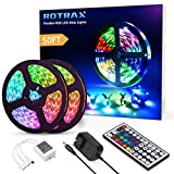 50ft Led Strip Lights, Rotrax Ultra-Long Color Changing Flexible Strip 450 LEDs with Remote Control Tape Light for Bedroom, Ceiling, Under Cabinet, Bar