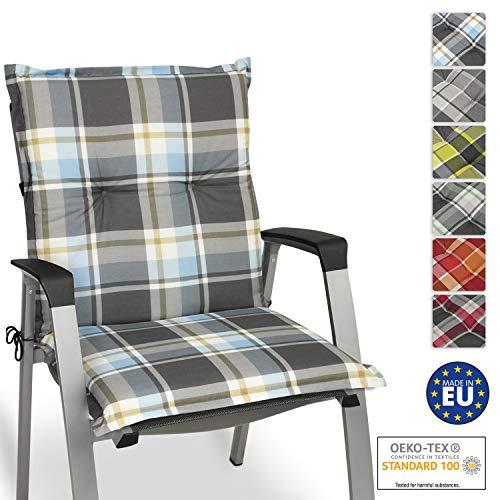 Beautissu Sunny BK Niedriglehner Auflage für Gartenstuhl 100x50 cm in Blau Kariert - Bequemes Sitzkissen Polsterauflage UV-Lichtecht - weitere Designs erhältlich