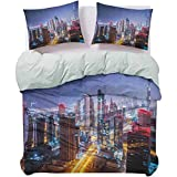 UNOSEKS LANZON Quilt Cover Nighttime at Dubai Vivid Display United Arab Emirates Tourist Attraction Travel Theme Light-Weight Duvet Cover Set Breathable and Comfortable Multicolor, Queen Size