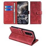 xinyunew Wallet Serie Handyhülle für OnePlus Nord/OnePlus 8 Nord/Oneplus Z Hülle Leder Flip Hülle Cover Schutzhülle für OnePlus Nord/OnePlus 8 Nord/Oneplus Z Tasche, Rot
