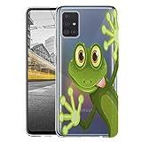 KX-Mobile Hülle für Samsung A51 Handyhülle Motiv 2167 Frosch Premium Silikonhülle durchsichtig mit Bild SchutzHülle Softcase HandyCover Handyhülle für Samsung Galaxy A51 Hülle
