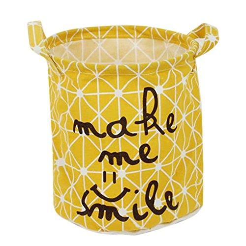 Cesto de ropa amarillo plegable de tela (lavable)