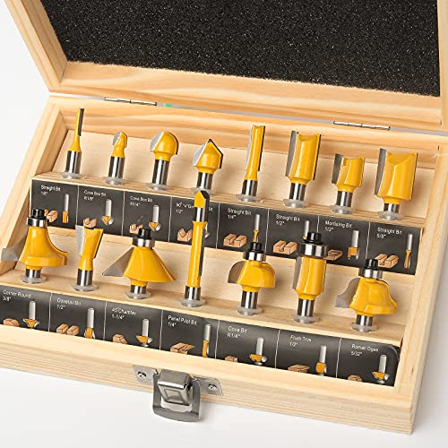 MNA Router Bits Set 15 Pieces 1/4 Inch, Classical Router Bits Kit, DIYer Woodworking Tools, Wood Case