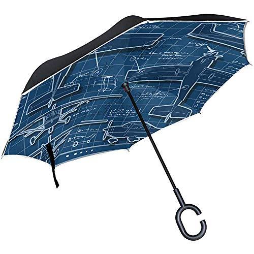Reis-paraplu, omgekeerd, vliegtuig, uv-bescherming, winddicht, met handgreep in C-vorm, voor auto golven in de buitenlucht