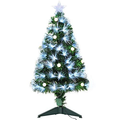 homcom 90cm Albero di Natale Artificiale, Rami 90 con Luce a LED Fibre ottiche, Base Pieghevole Rimovibile, Verde