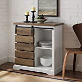 Walker Edison Willa Modern Farmhouse Sliding Single Slat Door Storage Console, 32 Inch, Solid White and Rustic Oak