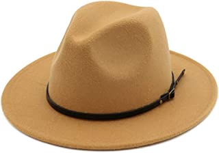 Women's Classic Wide Brim Fedora Hat with Belt Buckle Felt Panama Hat