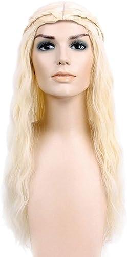 KERVINFENDRIYUN YY4 Blonde Lange lockige Perücke für Frauen-Kunsthaar volle Perücken mit Pony Halloween Cosplay Perücke (Farbe   Blonde)