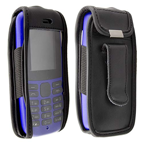 caseroxx Hülle Ledertasche mit Gürtelclip für Nokia 105 (2019) 4th Edition aus Echtleder, Tasche mit Gürtelclip & Sichtfenster in schwarz