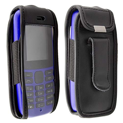 caseroxx Ledertasche mit Gürtelclip für Nokia 105 (2019) 4th Edition aus Echtleder, Handyhülle für Gürtel (mit Sichtfenster aus schmutzabweisender Klarsichtfolie in schwarz)