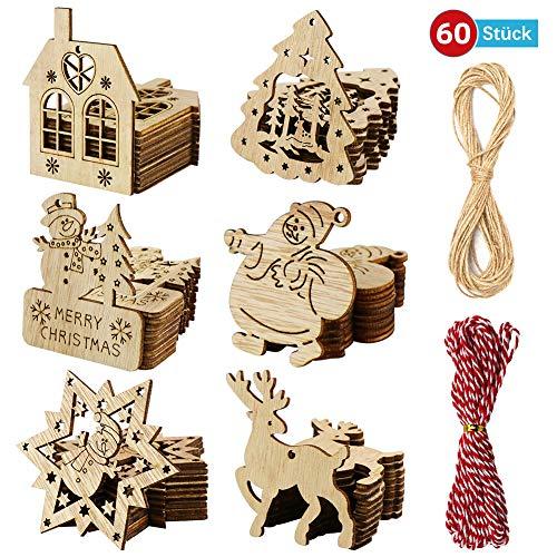 Datyeco 60 Stück Weihnachtsbaumschmuck Holz, Holz zum Bemalen Weihnachten, Holz Weihnachtsbaum, Weihnachtsanhänger Holz, Holz für Weihnachtsmann Schneeflocke Schneemann Elk zum selbst bemalen