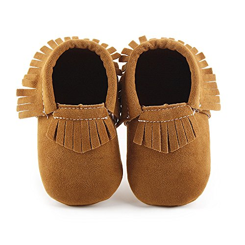 Delebao Unisex Baby Soft Sole Tassels Crib Shoes Moccasins Loafers (3-6 Months, Brown)