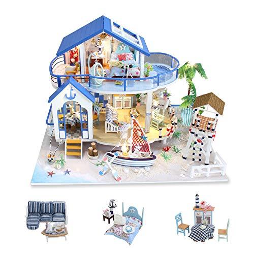none-branded DIY Miniatur-Puppenhaus Kit zum Bau handgefertigter Mini-Raum mit Musik staubdicht und Möbel für Dekoration Kreative Handwerk Geschenke für Frauen (Legend of Blue Sea)