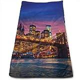 Nyc That Never Sleeps Reflections On Manhattan East River City - Impresión fotográfica, toallas de mano absorbentes suaves para el baño, hotel, gimnasio y spa
