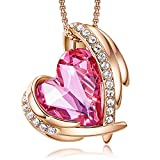CDE Love Heart Pendant Necklaces for Women Silver Tone Rose Gold Tone Crystals Birthstone Mother's Day Jewelry Gifts for Women Birthday/Anniversary Day/Party (A-Oct.-Rose Gold Pink)
