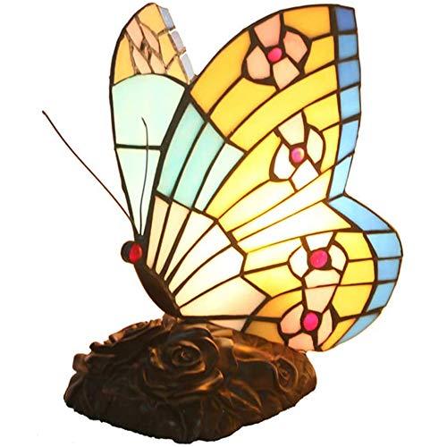 Fikujap Butterfly Lámpara de Mesa Creativa luz de Noche E27 Hecho a Mano Lámpara de Cristal manchada Pantallas Bronce Base de Resina para decoración de Dormitorio Iluminación