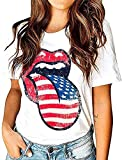 EIGIAGWNG Womens American Flag Lips T-Shirt Funny July 4th Independence Day Graphic Tees Tops (White, S)