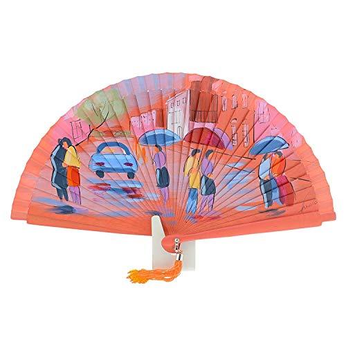 Abanico Artesanal en Madera Pintado a Mano Talla: U Color: CORAL