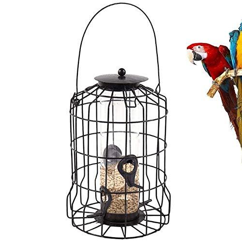 Lamps Comedero para pájaros de Semillas de Girasol con Jaula abovedada, Herramienta de alimentación de pájaros antibacteriana a Prueba de Clima Colgante, 3 Puertos