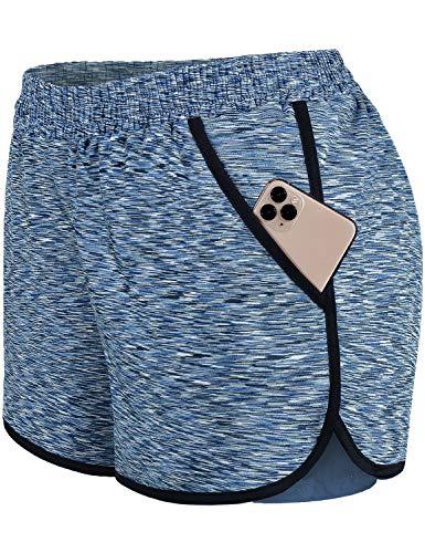 Blevonh AthleticShortsforWomen,Elastic Waist Quick Dry Working Out Short Inner Layer Ladies Fashion 2021 Summer Casual Shorts Ladies Modest Sports Running Clothes Blue XL