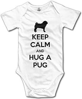 Unisex Baby's Hug A Pug Bodysuits Romper Short Sleeved Onesies