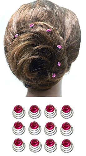 Dozen Pack Hair Twists with Solitaire Crystal 5/8 in diameter BU863175-solht-Drose by Bella