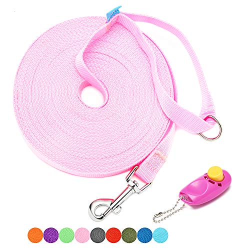 BAAPET 15 ft, 20 ft, 30 ft, 50 ft, 100 ft Long Leash for Dog Cat Training, Play, Camping, or Backyard Lead with Free Training Clickers for Small, Medium and Large Dogs or Cats (50 Feet, Pink)
