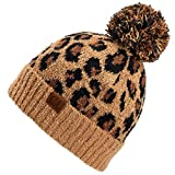C.C Exclusives Soft Beanie hat with Leopard Pattern and Fur Pom(HAT-7001) (Latte-Leopard Pom)