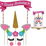 Dancepandas Unicorn Cake Topper 4PCS Tarta de Unicornio Decorar Tartas Infantiles Decoración de...