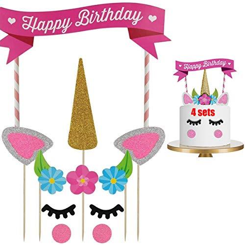 dancepandas Unicorn Cake Topper 4PCS Tarta de Unicornio Decorar Tartas Infantiles Decoración de Tartas de Cumpleaños para Fiesta del bebé, Boda y cumpleaños